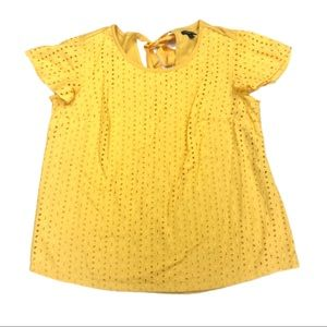 Lane Bryant Yellow Embroidered Eyelet Overlay Top